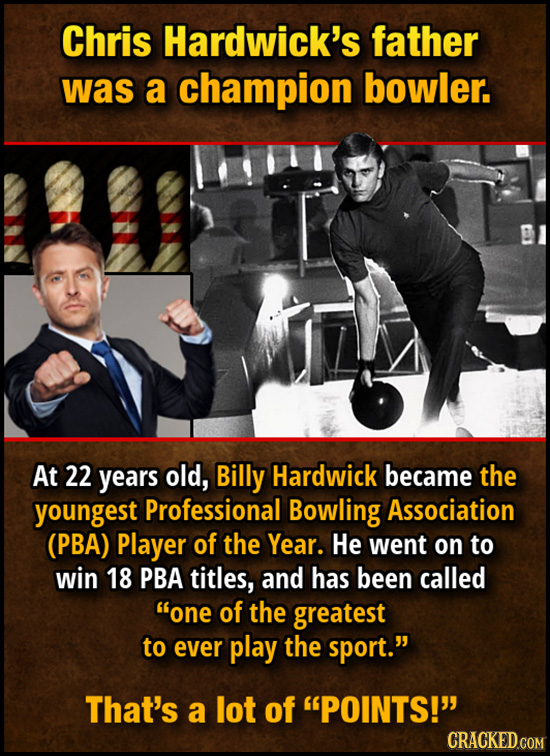 Chris Hardwick's father was a champion bowler. At 22 years old, Billy Hardwick became the youngest Professional Bowling Association (PBA) Player of th
