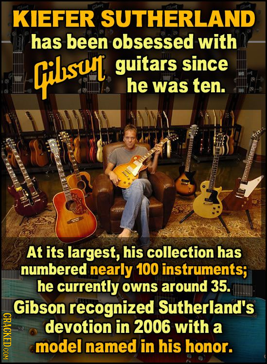 KIEFER SUTHERLAND has been obsessed with qilsul guitars since he was ten. At its largest, his collection has numbered nearly 100 instruments; he curre