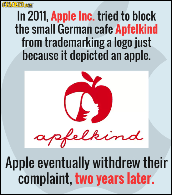 CRACKEDCON In 2011, Apple Inc. tried to block the small German cafe Apfelkind from trademarking a logo just because it depicted an apple. apfelkind Ap