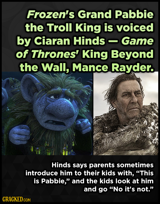Frozen's Grand Pabbie the Troll King is voiced by Ciaran Hinds Game -- of Thrones' King Beyond the Wall, Mance Rayder. Hinds says parents sometimes in