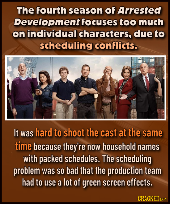 The fourth season Of Arrested Development focuses too much on individual characters, due to scheduling conflicts. It was hard to shoot the cast at the