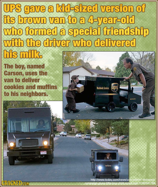 UPS gave a kid-sized version of its brown van to a 4-year-old who formed a special friendship with the driver who delivered his milk. The boy, named C