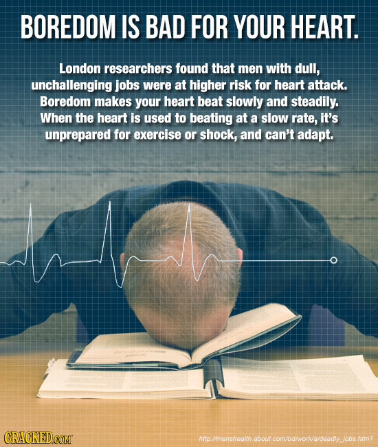 BOREDOM IS BAD FOR YOUR HEART. London researchers found that men with dull, unchallenging jobs were at higher risk for heart attack. Boredom makes you