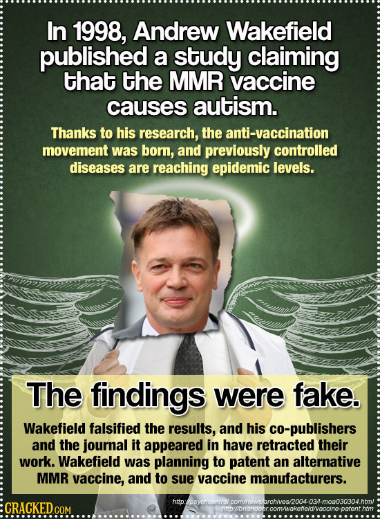 In 1998, Andrew Wakefield published a study claiming that the MMR vaccine causes autism. Thanks to his research, the anti-vaccination movement was bor