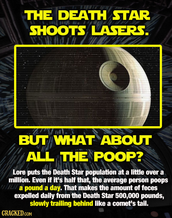 THE DEATH STAR SHOOT'S LASERS. BUT WHAT ABOUT ALL THE POOP? Lore puts the Death Star population at a little over a million. Even if it's half that, th