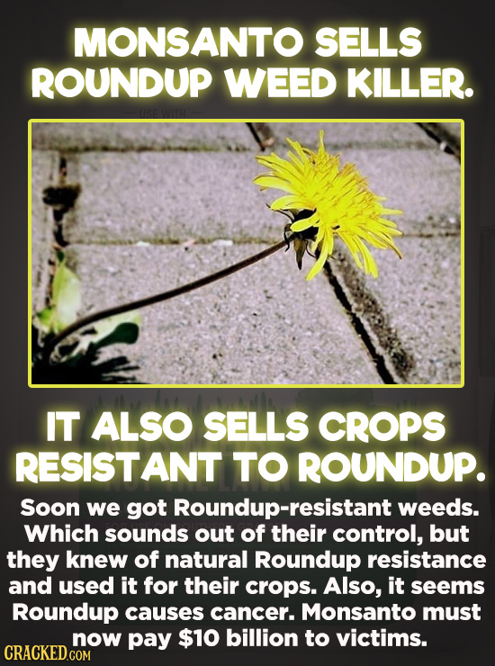 Evil Things Huge Companies Have Done - Monsanto sells Roundup weed killer, and it also sells crops that are resistant to Roundup. Over time, Roundup-r