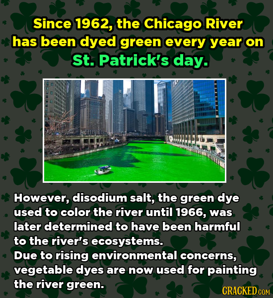 Since 1962, the Chicago River has been dyed green every year on St. Patrick's day. However, disodium salt, the green dye used to color the river until