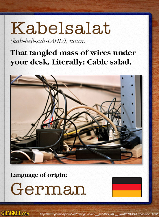Kabelsalat (kab-bell-sah-LAhD), noun. That tangled mass of wires under your desk. Literally: Cable salad. Language of origin: German CRACKED CO htolww