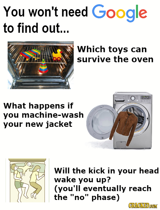 You won't need Google to find out... Which toys can survive the oven What happens if you machine-wash your new jacket Will the kick in your head wake