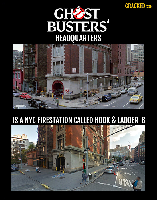 CRACKEDco GHST BUSTERS' HEADQUARTERS S IS A NYC FIRESTATION CALLED HOOK & LADDER 8 ON