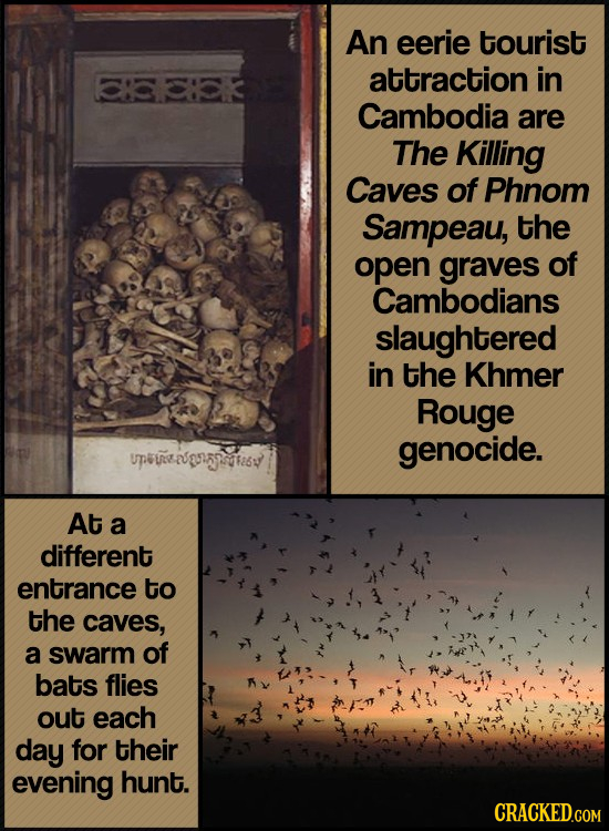 An eerie tourist 33 attraction in Cambodia are The Killing Caves of Phnom Sampeau, the open graves of Cambodians slaughtered in the Khmer Rouge genoci