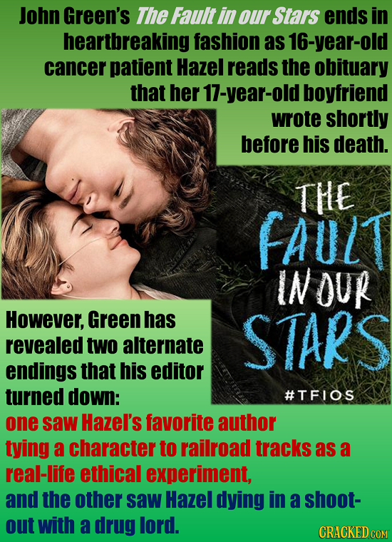 John Green's The Fault in our Stars ends in heartbreaking fashion as 16-year-old cancer patient Hazel reads the obituary that her 17-year-old boyfrien