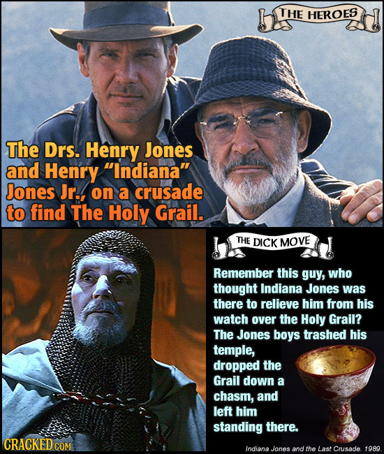 THE HEROES The Drs. Henry Jones and Henry Indiana Jones Jr.. on a crusade to find The Holy Grail. THE DICK MOVE Remember this guy, who thought India