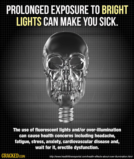 PROLONGED EXPOSURE TO BRIGHT LIGHTS CAN MAKE YOU SICK. The use of fluorescent lights and/or over-illumination can cause health concerns including head