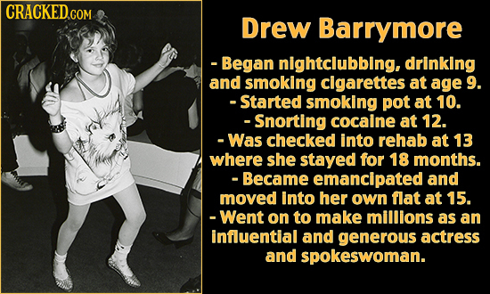 Drew Barrymore -Began nightclubbing, drinking and smoking cigarettes at age 9. -Started smoking pot at 10. -Snorting cocaine at 12. -Was checked into