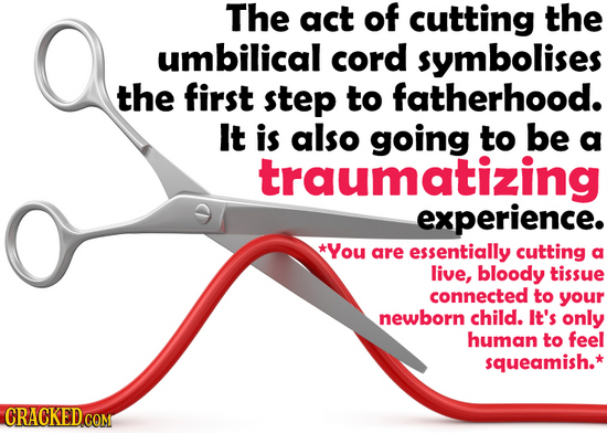 The act of cutting the umbilical cord symbolises the first step to fatherhood. It is also going to be a traumatizing experience. *You are essentially