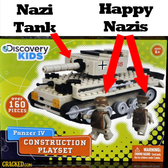 Nazi Happy Tank Nazis Discovery AGES 6+ KIDS 18 over 160 PIECES Panzer IV CONSTRUCTION PLAYSET A WARNING: CHOKING HAZARD- Snal bats Not for childres u
