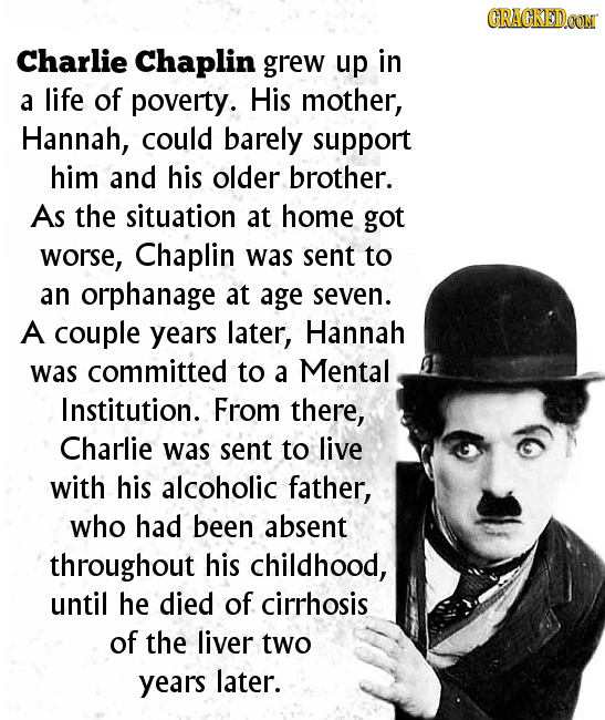 CRACKEDCON Charlie Chaplin grew up in a life of poverty. His mother, Hannah, could barely support him and his older brother. As the situation at home