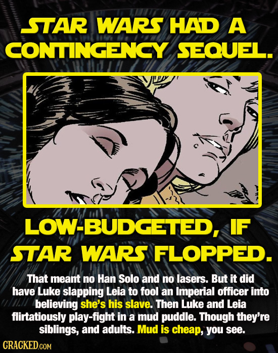 STAR WARS HAD A CONTINGENCY SEQUEL. LOW-BUDGETED, IF STAR WARS FLOPPED. That meant no Han Solo and no lasers. But it did have Luke slapping Leia to fo