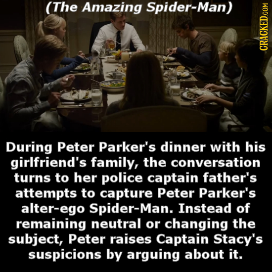 (The Amazing Spider-Man) CRACKED.cOM During Peter Parker's dinner with his girlfriend's family, the conversation turns to her police captain father's