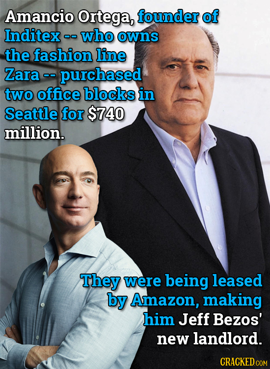 Amancio Ortega, founder of Inditex - who oo owns the fashion line Zara - purchased two office blocks in Seattle for $740 million. They were being leas