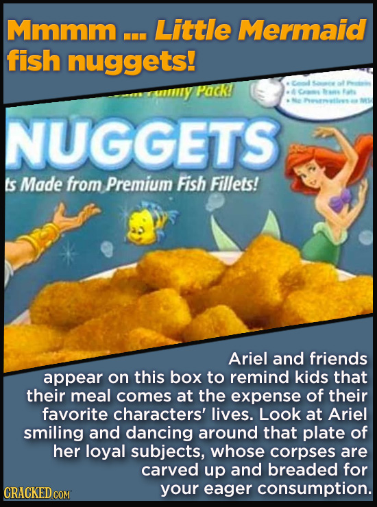 Terrible Movie Merchandise The Studios Didn't Think Through - Mmmm ... Little Mermaid fish nuggets!