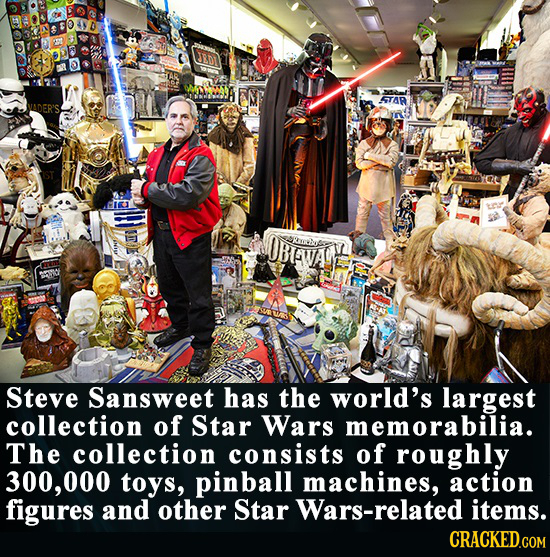 5TAR VADER'S OBFVA Steve Sansweet has the world's largest collection of Star Wars memorabilia. The collection consists of roughly 300,000 toys, pinbal