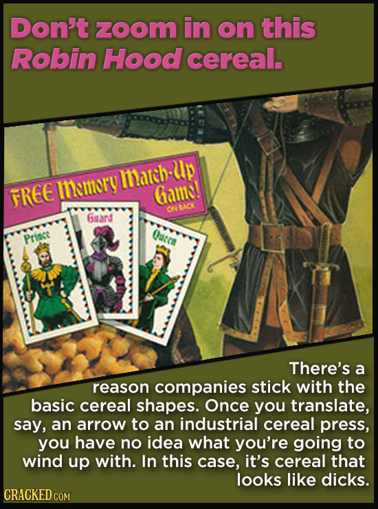 Terrible Movie Merchandise The Studios Didn't Think Through - Don't zoom in on this Robin Hood cereal.