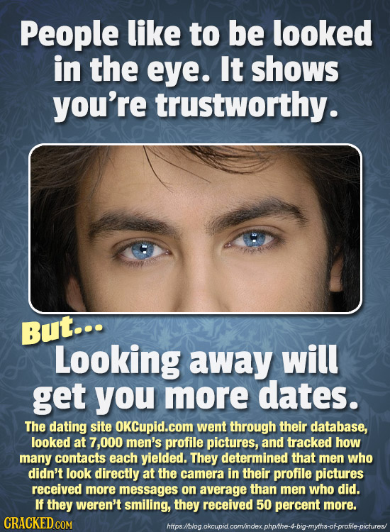 People like to be looked in the eye. It shows you're trustworthy. But... Looking away will get you more dates. The dating site OKCupid.com went throug