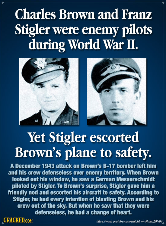 Charles Brown and Franz Stigler were enemy pilots during World War II. Yet Stigler escorted Brown's plane to safety. A December 1943 attack on Brown's