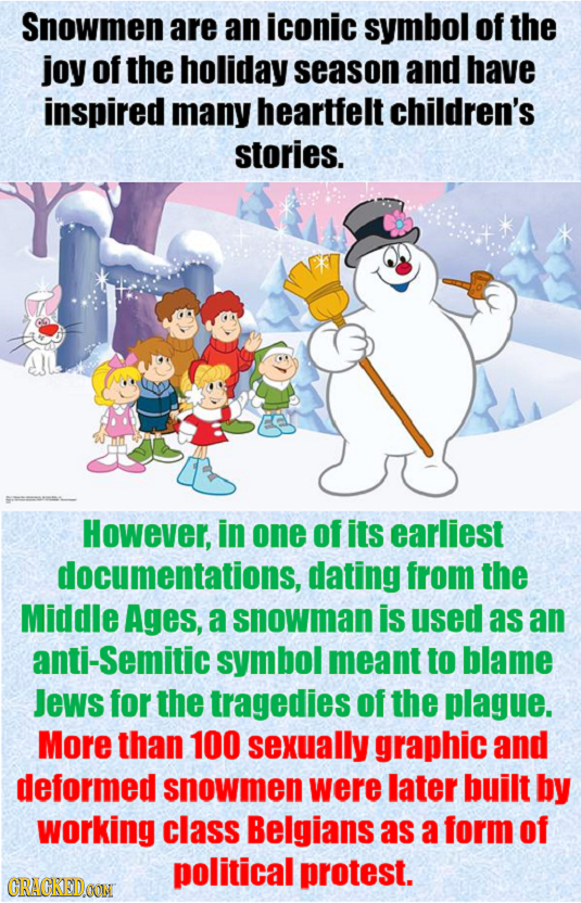 Snowmen are an iconic symbol of the joy of the holiday season and have inspired many heartfelt children's stories. However, in one of its earliest doc