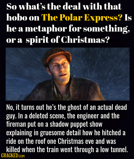 So what's the deal with that hobo on The Polar Express? Is he a metaphor for something, or a spirit of Christmas? No, it turns out he's the ghost of a