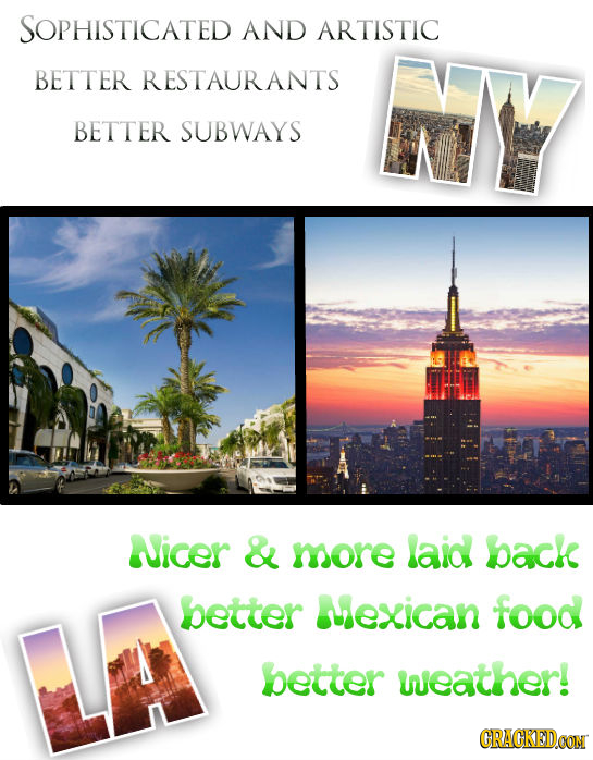 SOPHISTICATED AND ARTISTIC BETTER RESTAURANTS BETTER SUBWAYS Nicer & more laid back better Wexican food LA better weather! CRACKEDCON
