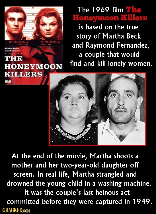 The 1969 film The Honeymoon Killers is based on the true story of Martha Beck 188S t and Raymond Fernandez, -1e SSle Ty a couple that would THE find a
