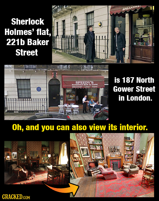 BREAKFAD Sherlock 21t Holmes' flat, 221b Baker Street is 187 North SPEEDY'S BANDW CH BAR CARE Gower Street in London. Oh, and you can also view its in