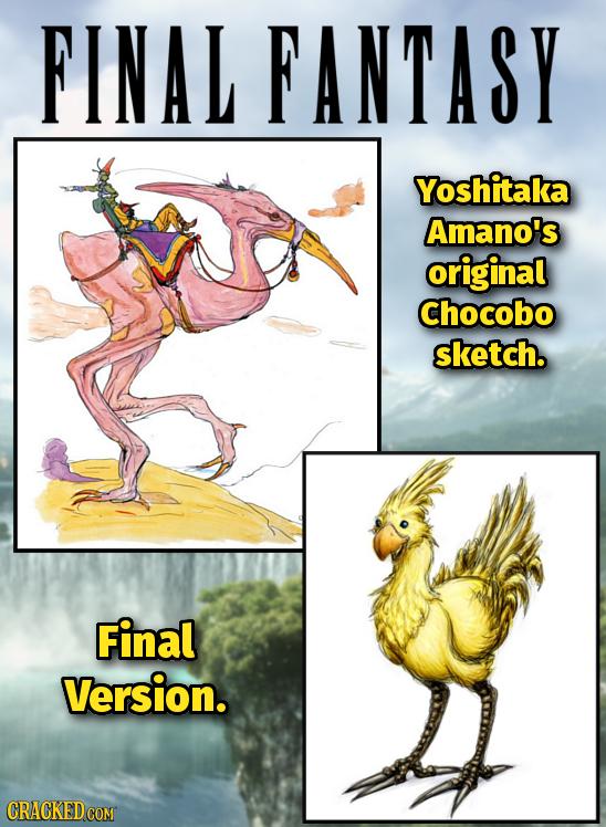 FINAL FANTASY Yoshitaka Amano's original Chocobo sketch. Final Version.