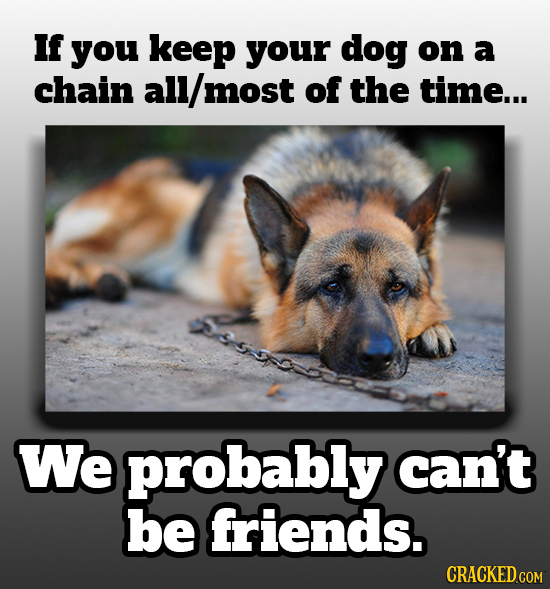 If you keep your dog on a chain all/ most of the time... We probably can't be friends. CRACKED.COM