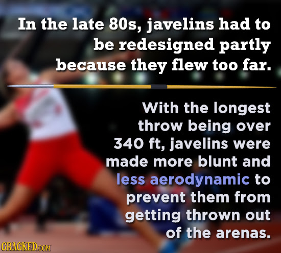 In the late 80s, javelins had to be redesigned partly because they flew too far. With the longest throw being over 340 ft, javelins were made more blu