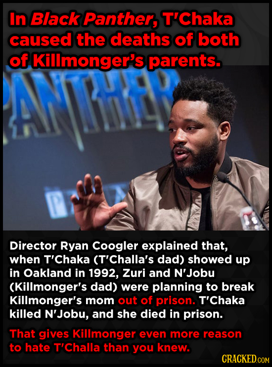 In Black Panther, T'Chaka caused the deaths of both of f Killmonger's parents. Director Ryan Coogler explained that, when T'Chaka (T'Challa's dad) sho