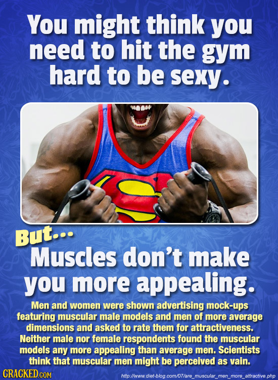 You might think you need to hit the gym hard to be Sexy. But... Muscles don't make you more appealing. Men and women were shown advertising mock-ups f