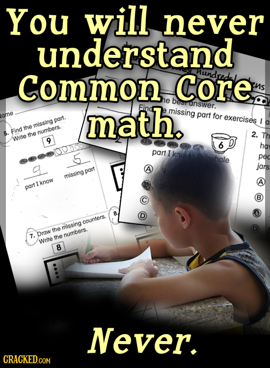 You will, never understand Common Core Nund he besr math. answer. Find missing part lame for exercises part. missing the 5. Find the numbers. 2. Write