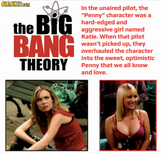 CRACKEDCON In the unaired pilot, the BiG Penny character was a the hard-edged and aggressive girl named BANG Katie. When that pilot wasn't picked up