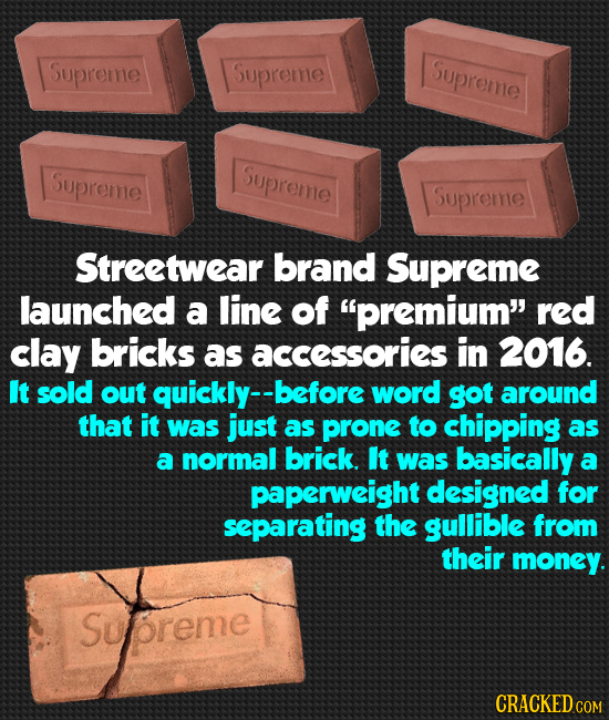 Supreme Supreme Supreme Supreme Supreme Supreme Streetwear brand Supreme launched a line of premium red clay bricks as accessories in 2016. It sold