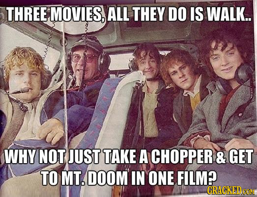 THREE MOVIES, ALL THEY DO IS WALK.. WHY NOT JUST TAKE A CHOPPER & GET TO MT. DOOM IN ONE FILM?