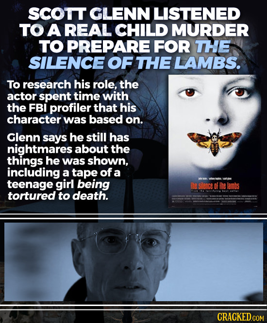 SCOTT GLENN LISTENED TO A REAL CHILD MURDER TO PREPARE FOR THE SILENCE OF THE LAMBS. To research his role, the actor spent time with the FBI profiler