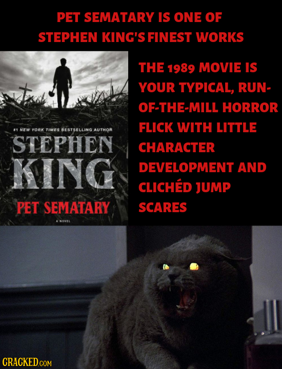 PET SEMATARY IS ONE OF STEPHEN KING'S FINEST WORKS THE 1989 MOVIE IS t YOUR TYPICAL, RUN- OF-THE-MILL HORROR FLICK WITH LITTLE 1 NEW YORK TIMES BESTSE