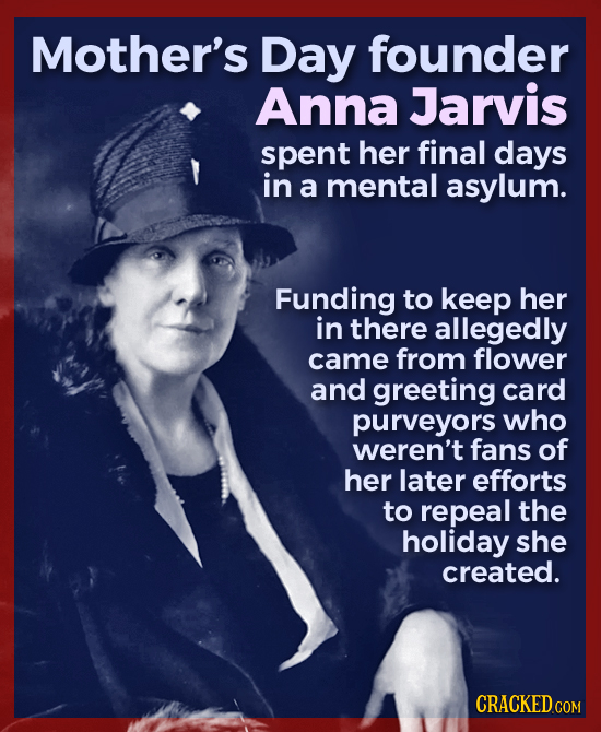 Mother's Day founder Anna Jarvis spent her final days in a mental asylum. Funding to keep her in there allegedly came from flower and greeting card pu