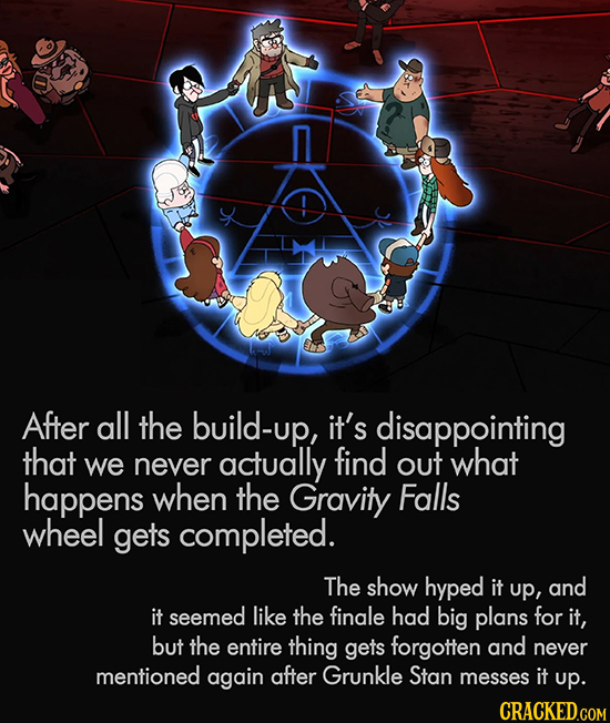 After all the build-up, it's disappointing that we actually find never out what happens when the Gravity Falls wheel gets completed. The show hyped it