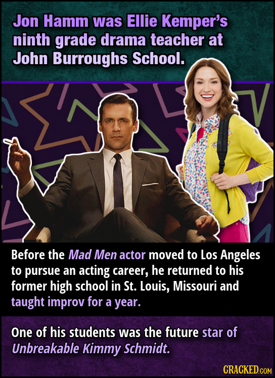 Jon Hamm was Ellie Kemper's ninth grade drama teacher at John Burroughs School. Before the Mad Men actor moved to Los Angeles to pursue an acting care