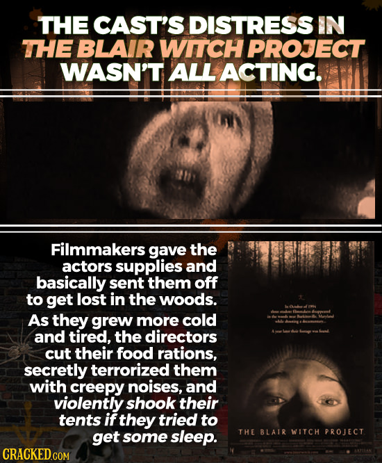 THE CAST'S DISTRESS IN THE BLAIR WITCH PROJECT WASN'T ALL ACTING. Filmmakers gave the actors supplies and basically sent them off to get lost in the w